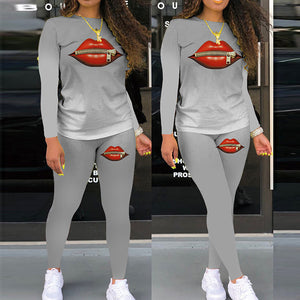 Viladress Lips Printing Women Long Sleeves T-shirt and Pants Two Pieces Autumn Outift Winter Outfit US Women Outfit