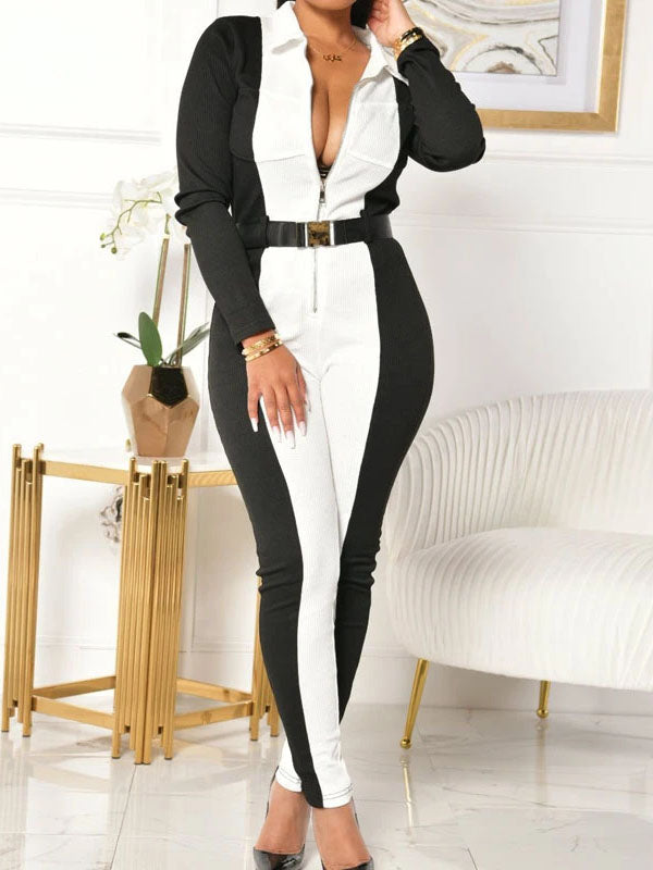 Viladress Womeon Jumpsuit Patchwork Jumpsuit Skinny Jumpsuit