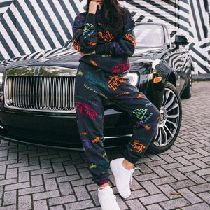 Viladress Letters Printing Woemn Hoodies and String Pants two Pieces Outfits Women Outfits