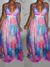 Viladress Printing Women Dress Maxi Dress V-neck Dress