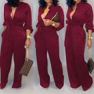 Viladress Solid V-neck Formal Jumpsuit