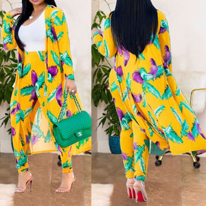 Fashion Print Long Pants&Cloak