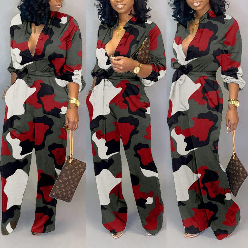 Viladress Camo Printing Women Jumpsuit
