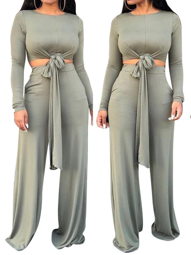 Viladress Tiedup Crop Tops and Wide Leg Pants Set