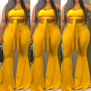 Viladress Off the Shoulder Chest Wrap and Flare Pants Set