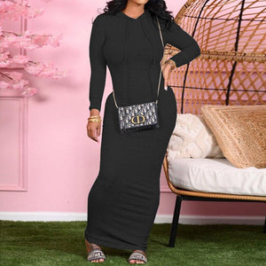 2020 Winter Women Dress Maxi dress Hooded Neckline Women Maxi dress