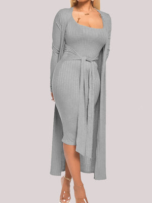 Viladress women MIdi Dress and Cardigan Two Pieces Autumn Dress Winter Dress