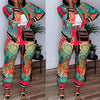 Viladress 2020 Winter Multicolors Printing Women Jacket and Women Pants Two Pieces Outfits
