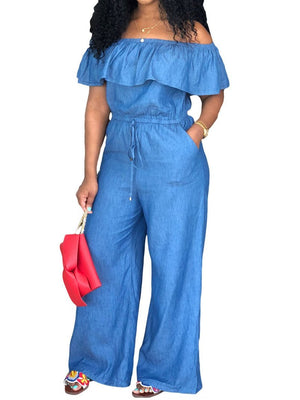 Viladress Off the Shoulder Flounced Women Jumpsuit