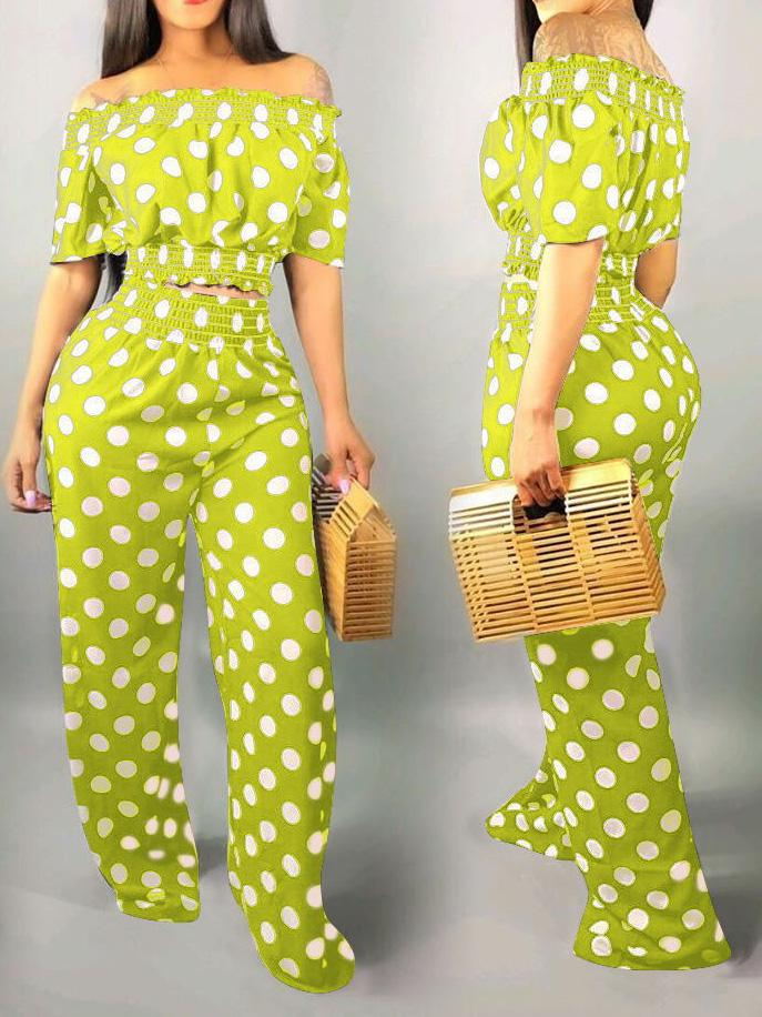 Viladress Spots Print Crop Tops and Wide Leg Pants