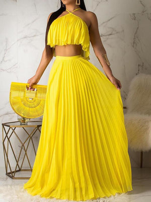 Viladress Halter Tops and Pleated Skirt Set