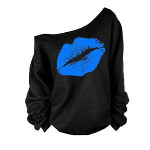 Sale of Lips Print Slash Neck Women Tops