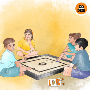Kids playing Carrom