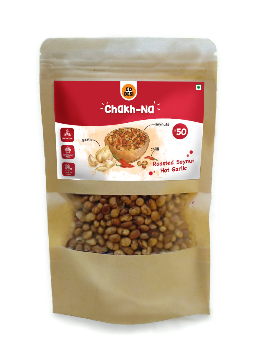 Go DESi Chakh-na: Roasted Soyabean Hot Garlic (Pack of 5)