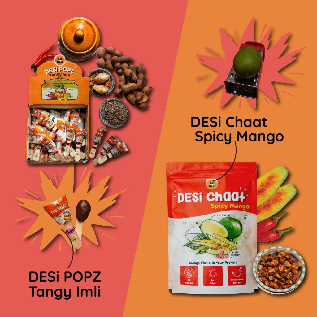 CRED Edition of DESi Chaat - Spicy Mango (180 gm) + DESi POPz - Tangy Imli (40 Pcs)