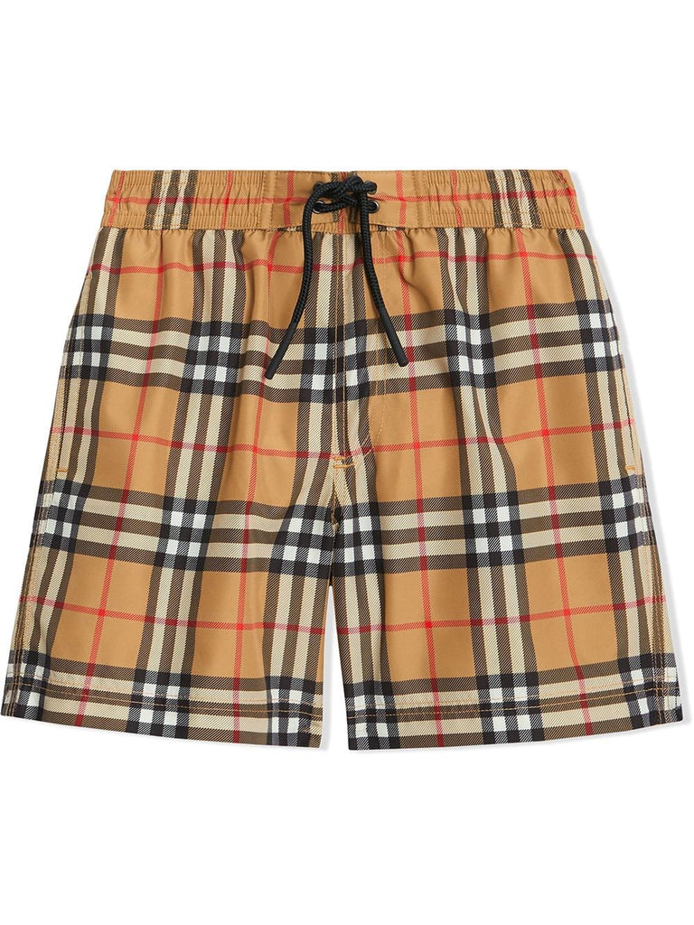 BURBERRY GALVIN CHECK SWIM TRUNKS SIZE 8Y