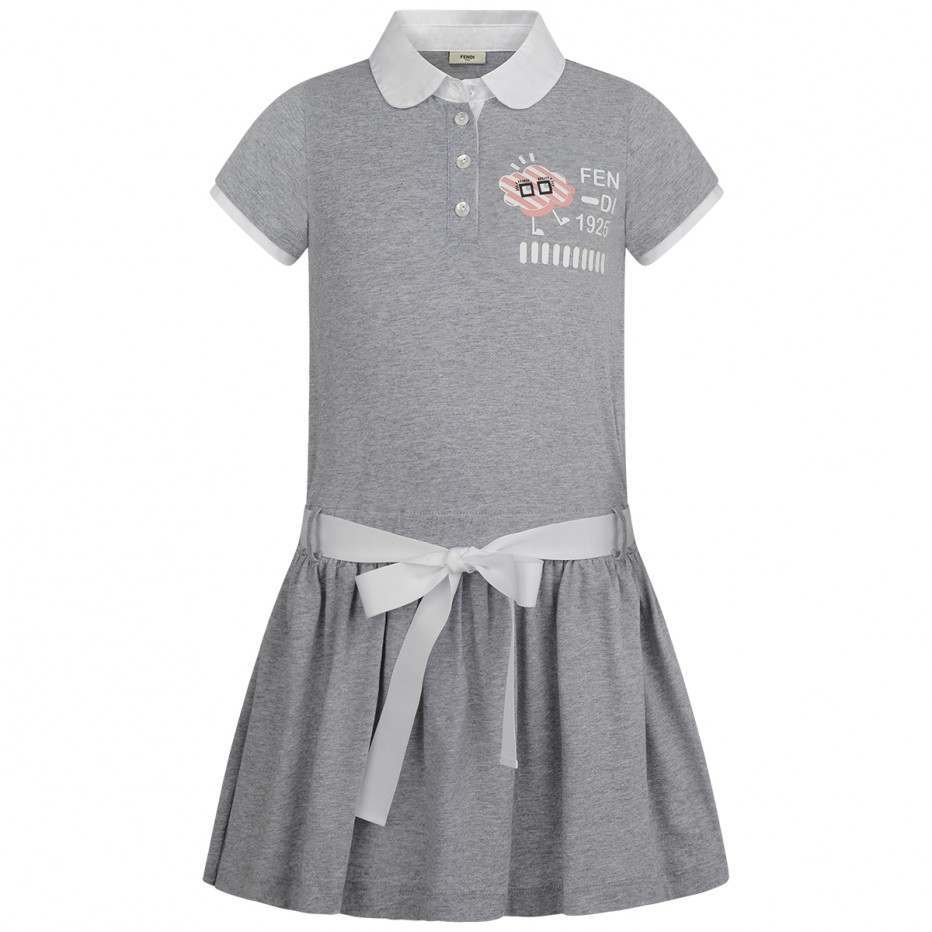 FENDI GIRLS GREY COTTON CLOUD DRESS SIZE 5y