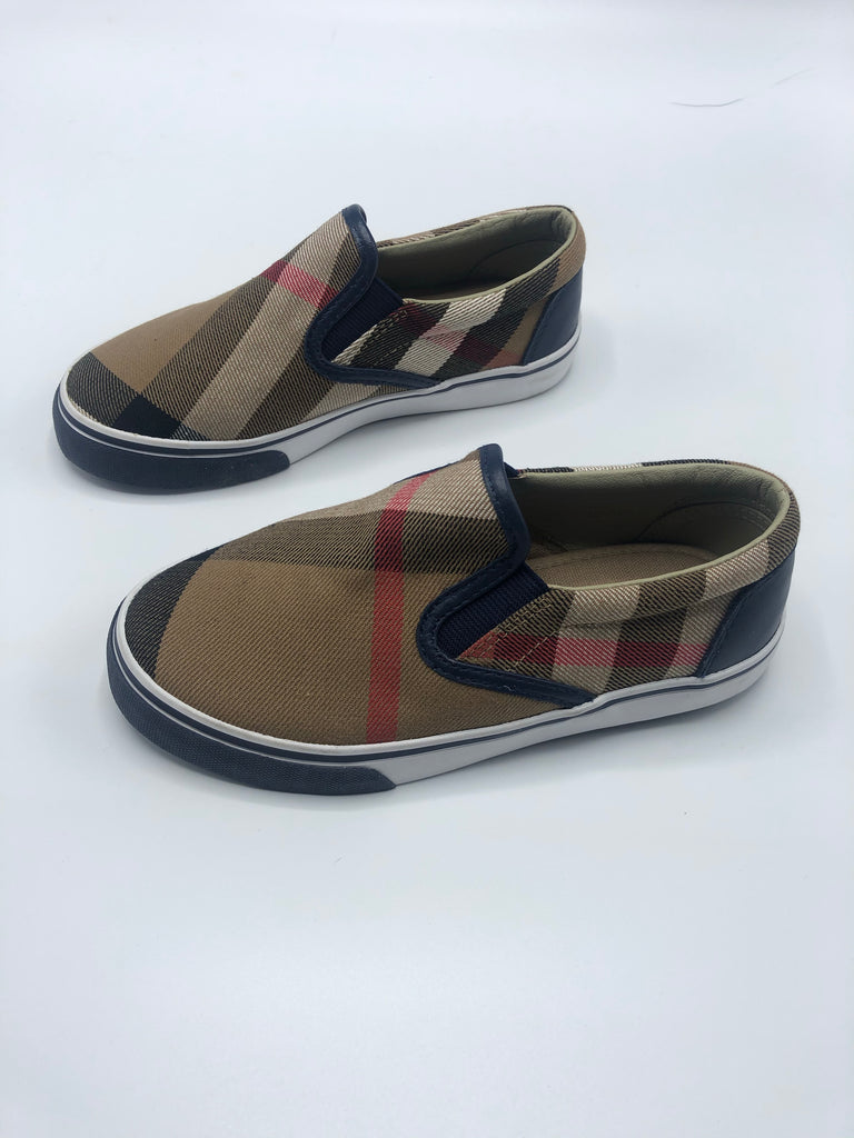 BURBERRY KIDS PLAID SLIP ONS SIZE 30
