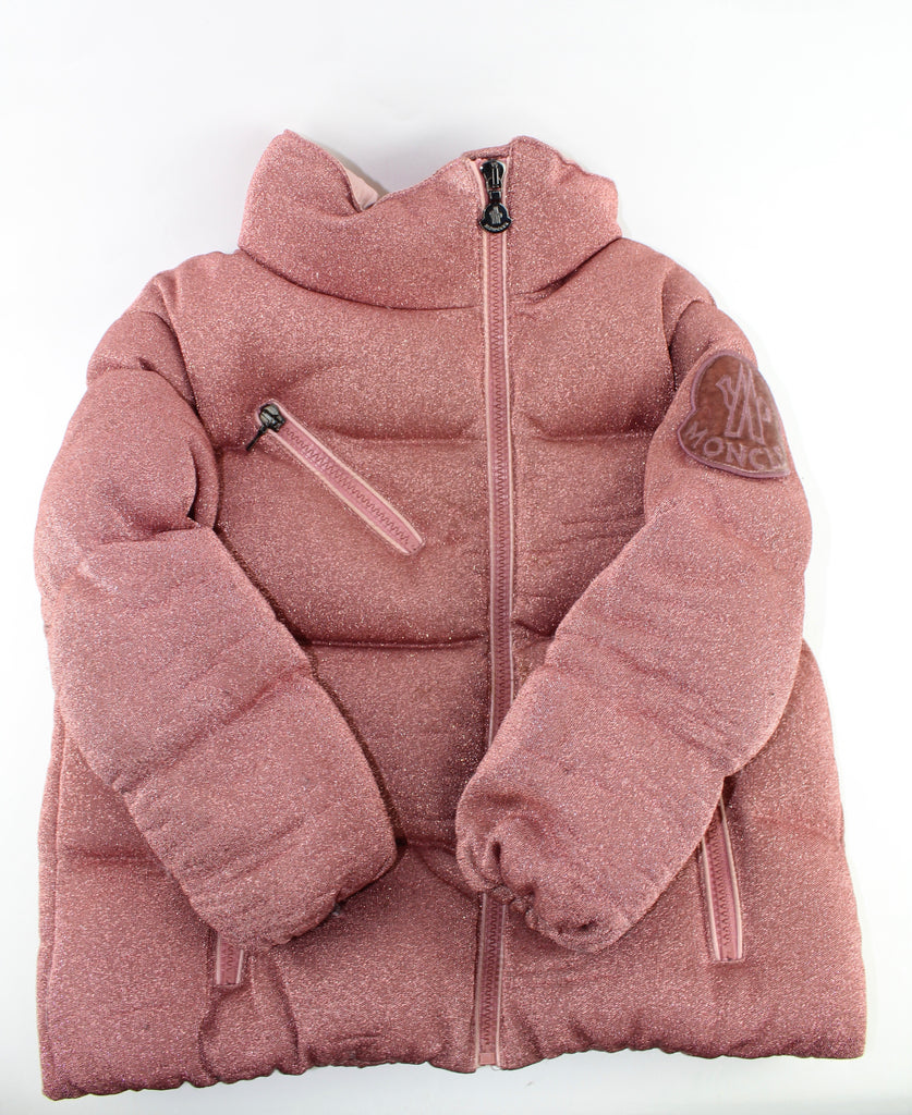MONCLER PINK SPARKLE KIDS PUFFER COAT SIZE 4