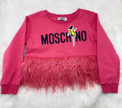 Moschino pink feather top size 6y