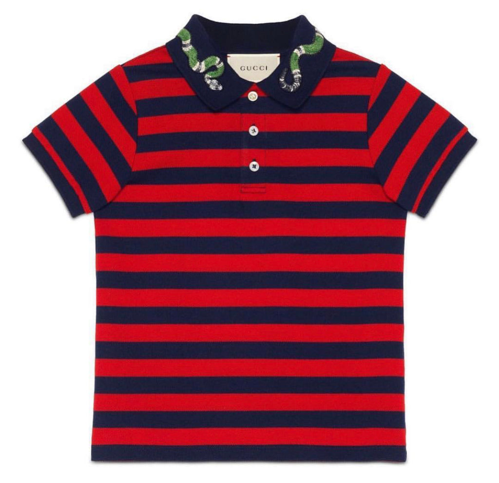 GUCCI STRIPED SNAKE COLAR POLO SIZE 10y