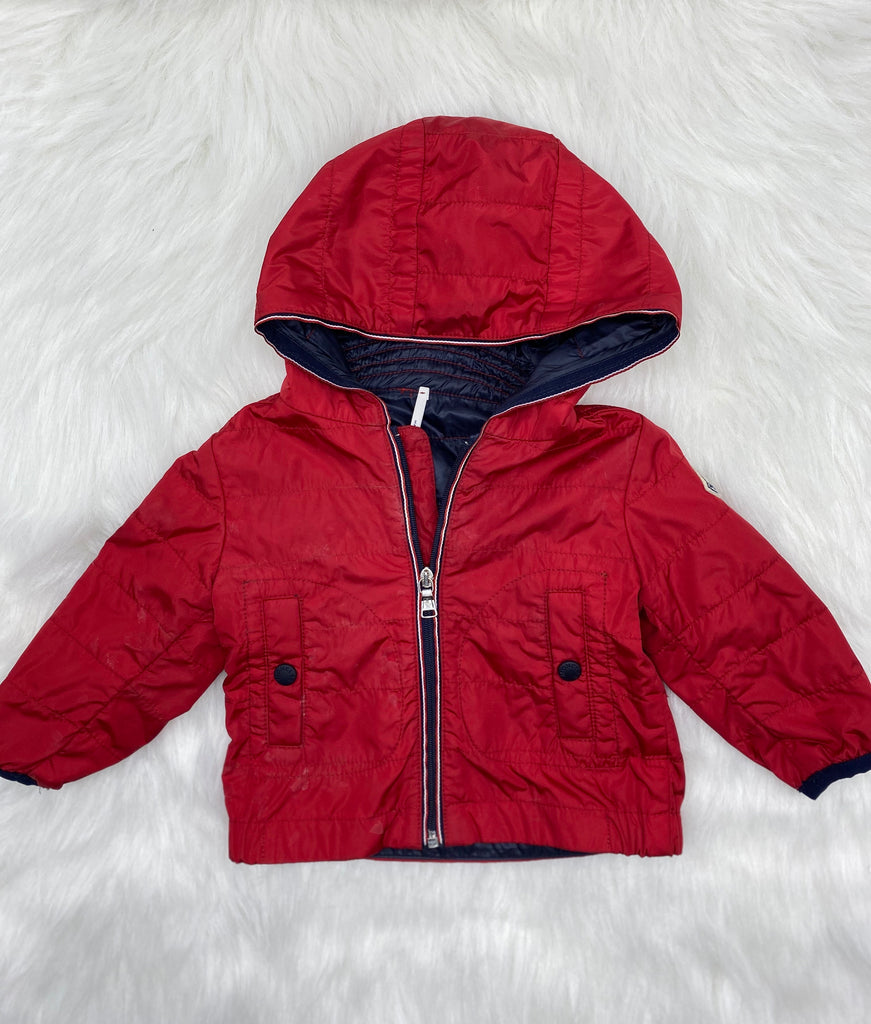 Moncler red light weight jacket size 3/6 months