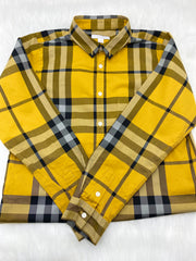 Burberry boys yellow plaid print shirt size 14y