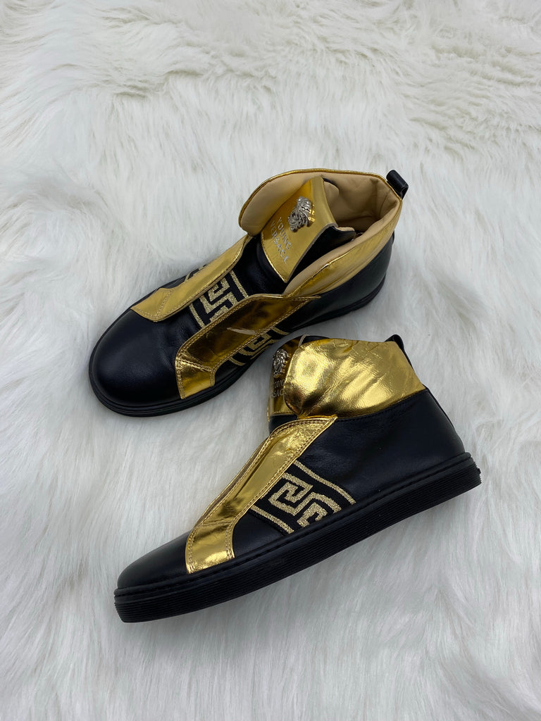 Versace Black/Gold high top shoes size 13y