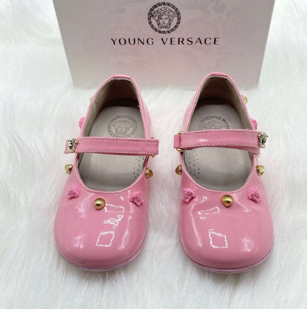 Versace rose ballerina shoes size 24/8c
