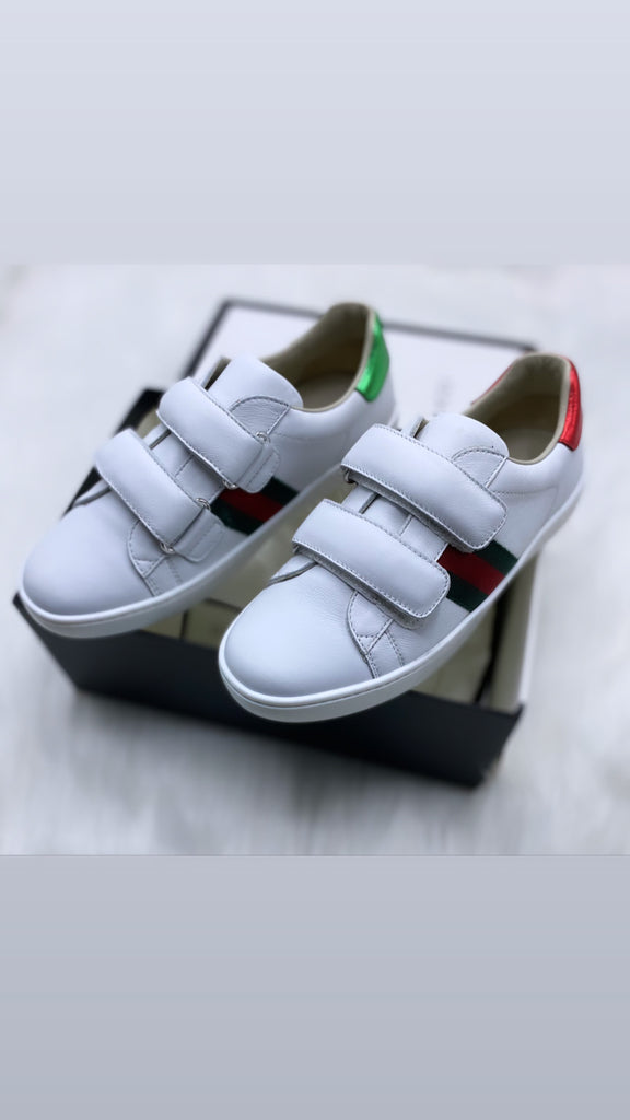 Gucci white shoes with red/green stripe size 32
