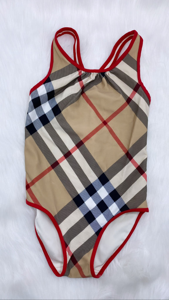 Burberry plaid print swim suit size 7y