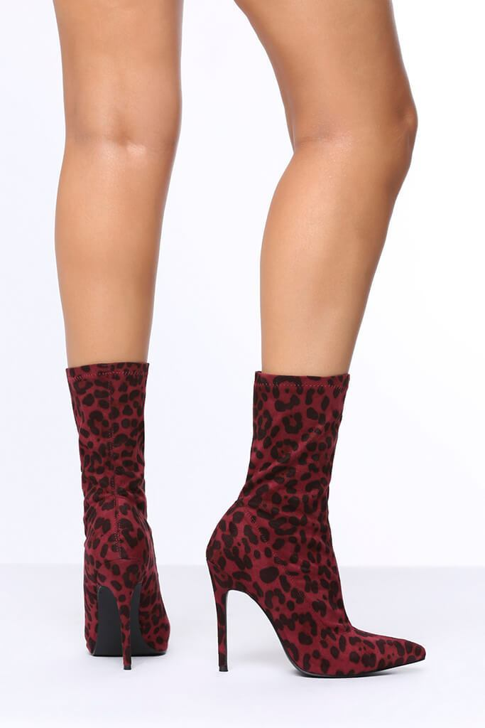 504906d8749 Red Leopard Print Heeled Ankle Boots