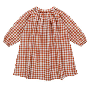 PIPPA SMOCK DRESS – GINGHAM RUST - Little Cotton Clothes