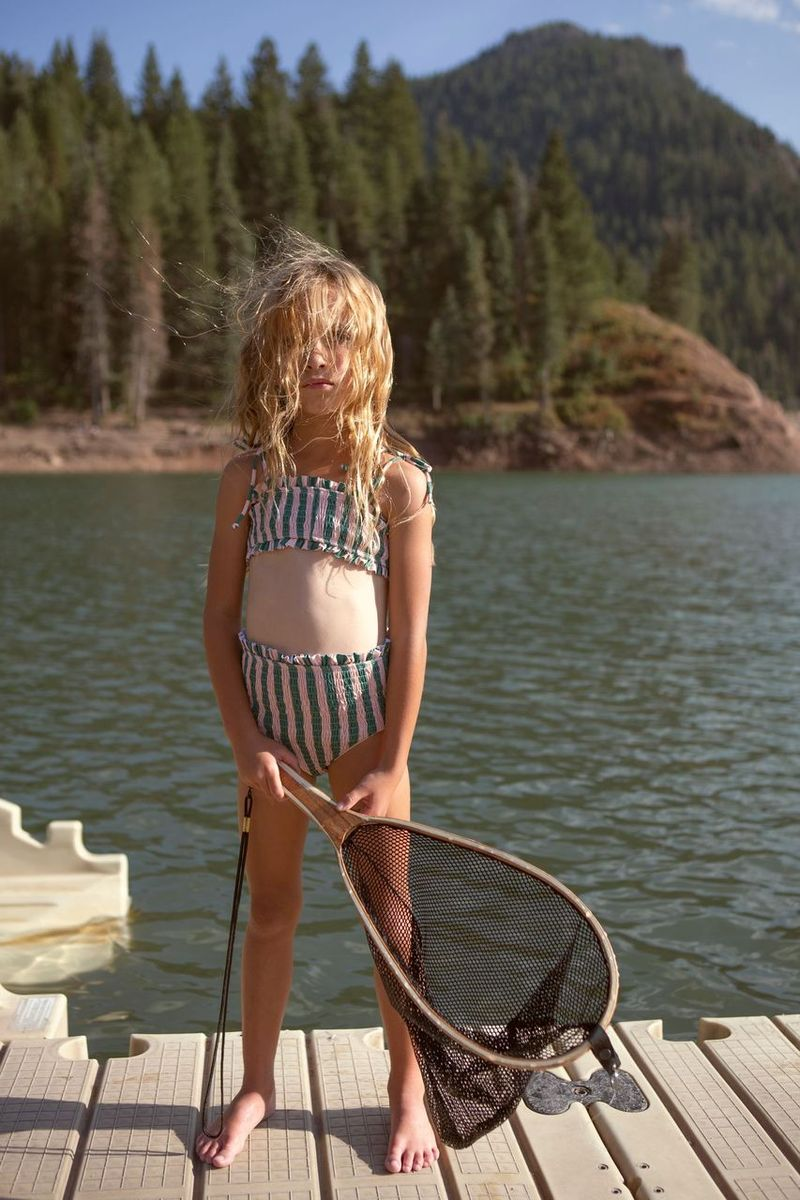 Fin & Vince Smocked Bikini - Watermelon Stripe