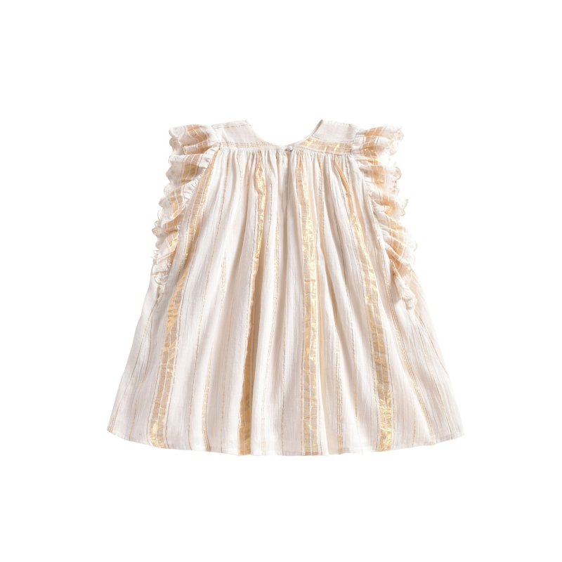 Dress Lyka White & Gold Stripes - Louise Misha