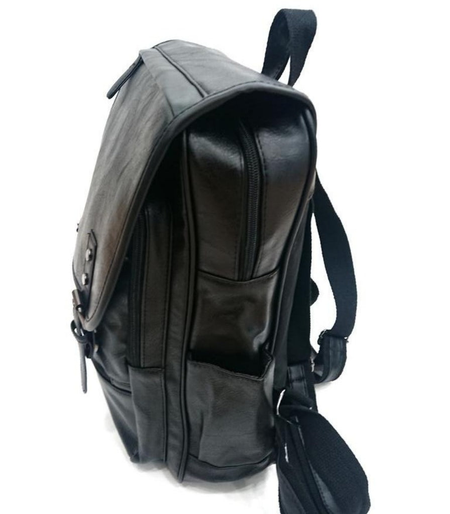 URBAN BLACK ECO LEATHER BACKPACK