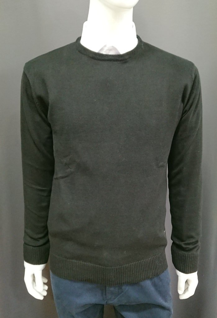 OXYGEN PLAIN BLACK COTTON SWEATER