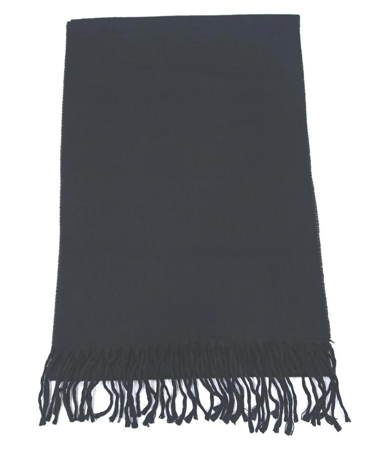 SCARF ALL BLACK WOOL