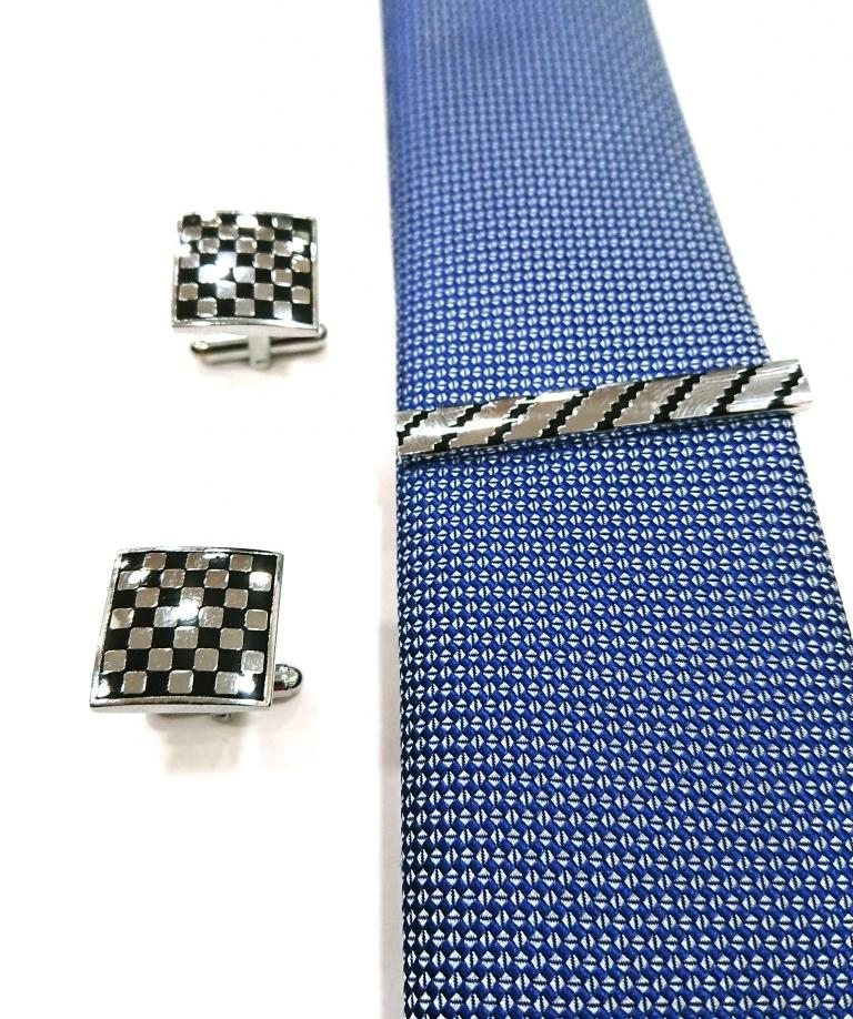 CUFFLINKS WITH TIECLIP SILVER