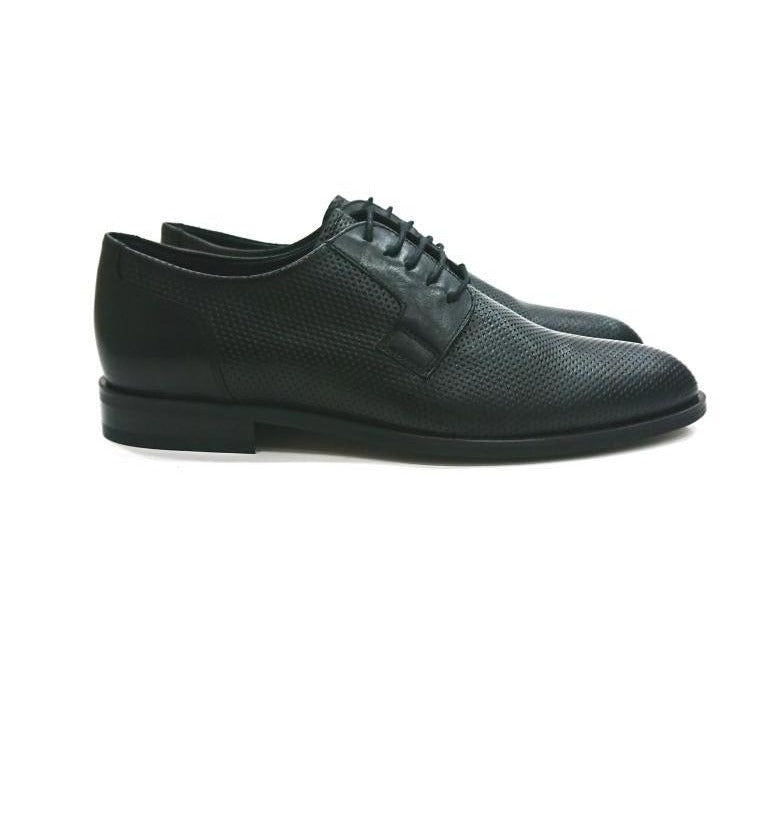 BLACK LEATHER DERBY SHOES