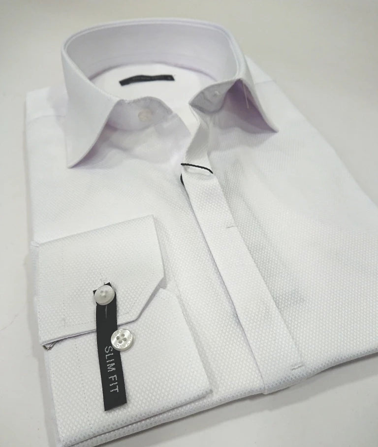 SILVANO VERRI SHIRT WHITE SHINE SLIM FIT