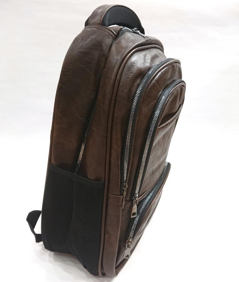 DARK BROWN ECO LEATHER BACKPACK