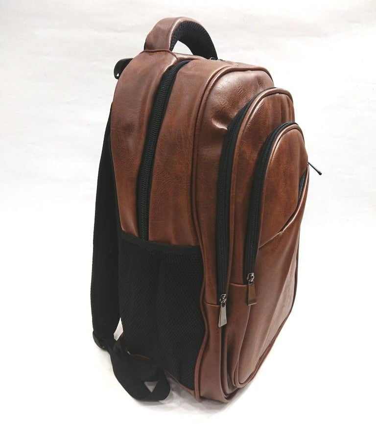 BROWN ECO LEATHER BACKPACK