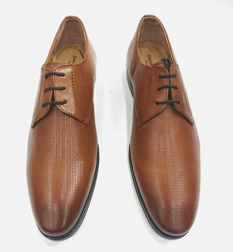 BROWN LEATHER SHOES BRAIDED