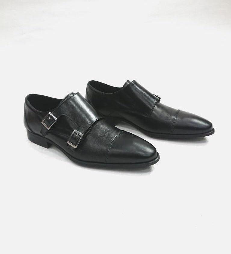 BLACK LEATHER MONK SHOES WITH TWO BUCKLES