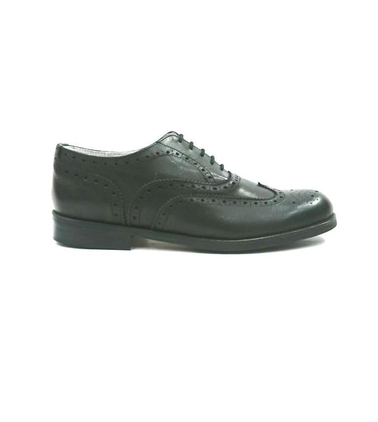 BLACK SPLIT LEATHER BROGUES SHOES