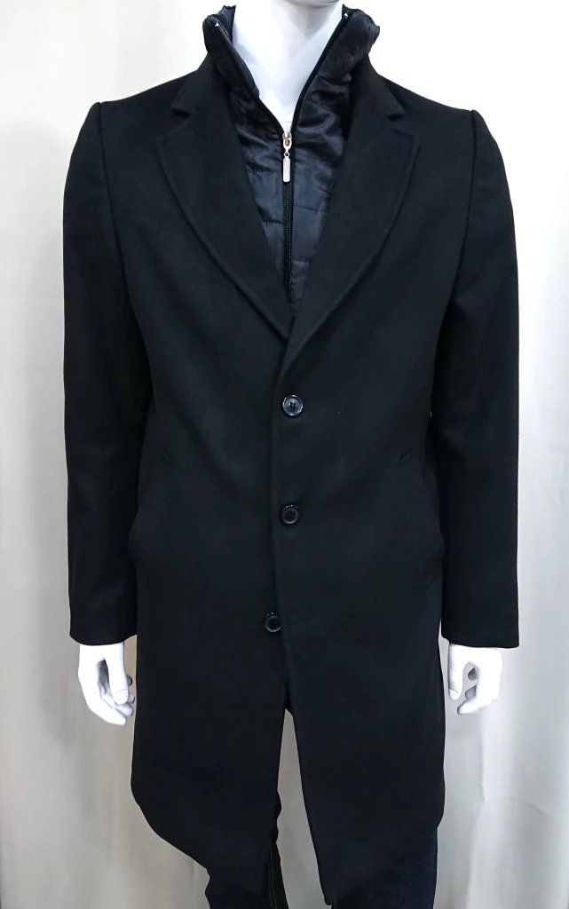 MANAGER BLACK COAT WITH DETACHABLE LINING