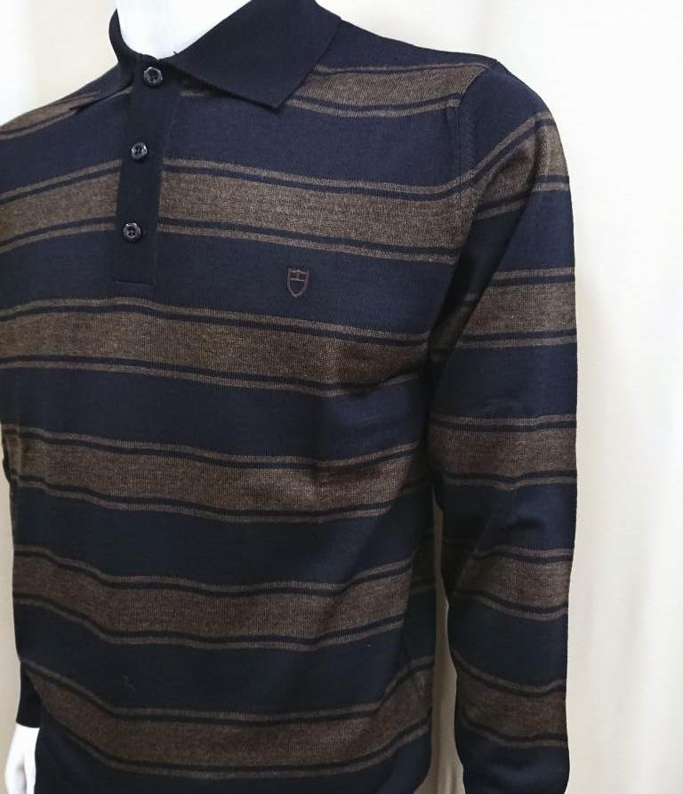STRIPED POLO SWEATER MERINO WOOL