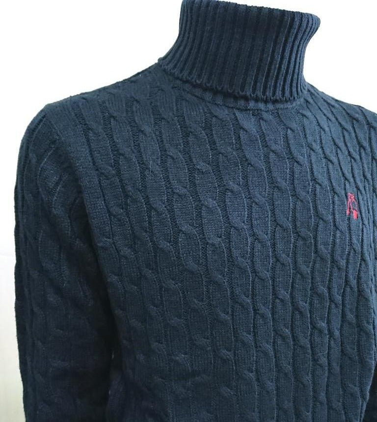 P.POLO CLUB CABLE-KNIT TURTLE NECK SWEATER