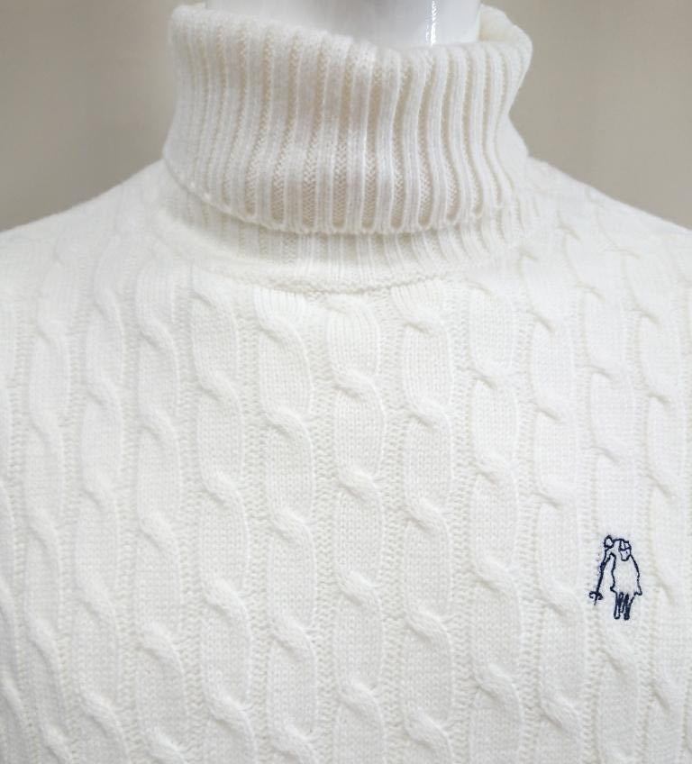 P.POLO CLUB CABLE-KNIT TURTLE-NECK SWEATER